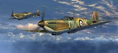 Spitfires, by Mark Waki (Spitfire Mk Ia, 610 Sqn. RAF, Battle of Britain, August 1940)