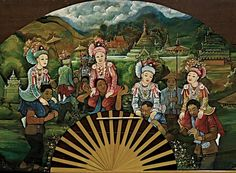 Arts and Crafts > Painted fan: boys becoming monks in Burma Painted Fan, Art Drawings Beautiful, Hand Fans, Ancient Jewelry, Burmese, Japanese Fashion, Vintage Books, Temples, Fashion Art