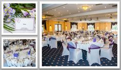 Purple colour schemed venue dressing. White chair covers and purple organza sashes. You can hire venue dressing like this at Natalija.Co Event Planning, find us on facebook, or visit our website, www.natalija.co.uk