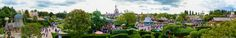 https://flic.kr/p/hpyfCw | Disneyland Paris Fantasyland Panorama | Flickr seems to have cut a small amount of the right hand side of this off for some reason. The sky turned out a little odd when it first came out of Photoshop but I tried to fix it best as possible.  A panorama shot from the top of the Queen of Heart's castle in Alice's Curious Labyrinth. I think Paris' Fantasyland is my favourite I've visited, behind this attraction beyond the train tracks they also have a Storybook area…