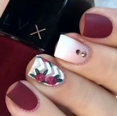 Professional nail experts craft elegant spring nails designs to complete your amazing look Every female loves to pamper herself with nail arts and a manicure and you can get the best look with beautiful nails French manicures have been loved by lad - # Nail Art Designs 2016, Nail Designs Spring, Cute Nail Designs, Pretty Designs, Maroon Nail Designs, Chevron Nail Designs, Easy Designs, Fancy Nails, Love Nails