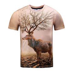 2017 Summer Brand Men's T shirt 3D Deer Print T shirt Short Sleeve Shirts Tops Plus Size 3XL Cotton Tees Shirts for Man