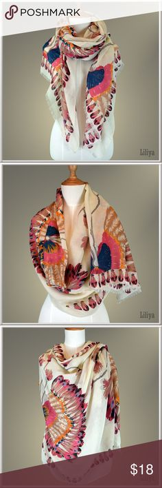 Women's oversized scarf Polyester. Very soft fabric, easily draped. Perfect for spring and summer. Accessories Scarves & Wraps