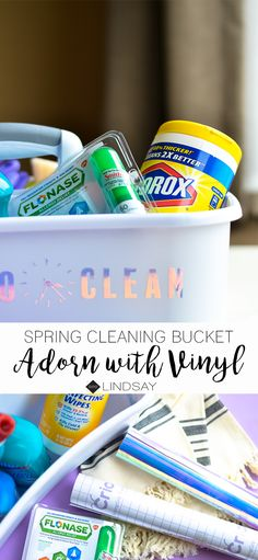 Create this personalized cleaning bucket using your Cricut machine and some holographic vinyl. Make cleaning fun again and stylish! Cleaning Fun, Cleaning Buckets, Cleaning Schedules, Cleaning Recipes, Paper Folding Crafts, Diy Paper, Paper Crafts, Easy Craft Projects, Fun Crafts