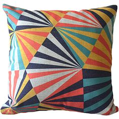 Postmodern Minimalism Colorful Regular Geometric Triangles Decorative Pillow Cover – AUD $ 18.05