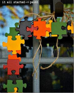 puzzle piece fall wreath - It All Started With Paint
