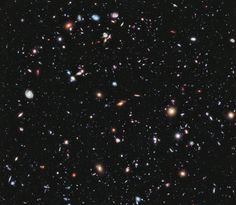 2012 Hubble eXtreme Deep Field (XDF) shows over 5500 galaxies. The image is only a tiny portion of the night sky, just 2x2.3 arcminutes across (There are 60 arcminutes to one degree)