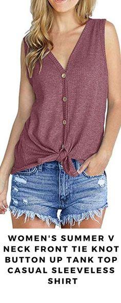 6fca6b9a43f072 Women s Summer V Neck Front Tie Knot Button Up Tank Top Casual Sleeveless  Shirt