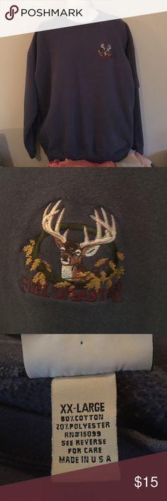 Men's sweatshirt Men's blue sweat shirt with deer embroidery Fieldmaster Shirts Sweatshirts & Hoodies