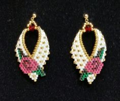 Russian Leaf Earrings with a Rose Motif by BeadAndBowtique on Etsy. Just $15.00!