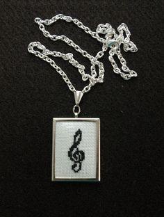 Treble Clef Cross Stitch Pendant Embroidered by BlueTopazStitchery, $23.00