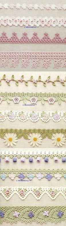 Вязание крючком - изящная обвязка края и кайма Crochet borders