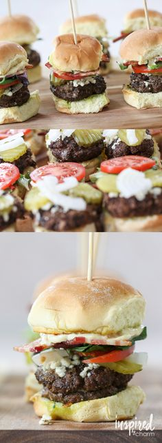 Black and Blue Sliders - these are the ultimate! Recipe for burger rub and Donkey sauce. Plus - instructions for Black Bean Burger or regular Beef Burgers | inspiredbycharm.com