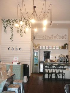 Love the unexpected bakery design. A bit messy but those wall climbers. Bakery Shop Design, Coffee Shop Design, Shop Interior Design, Cupcake Shop Interior, Cute Coffee Shop, Bakery Decor, Bakery Display, Bakery Ideas, Bakery Store