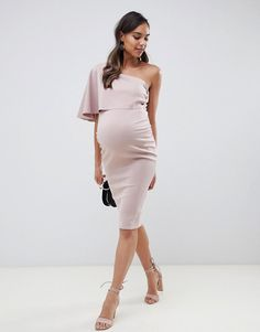 ASOS DESIGN Maternity one shoulder cape midi dress at ASOS. Maternity Evening Wear, Asos Maternity Dresses, Cute Maternity Outfits, Pregnancy Outfits, Maternity Wear, Maternity Fashion, Pregnancy Dress, Dresses For Pregnant Women, Pregnant Wedding Dress