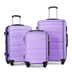 "Luggage Set Spinner Hard Shell Suitcase Lightweight Carry On - 3 Piece (20"" 24"" 28"") (Light purple)"