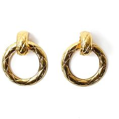 Vintage CHANEL 90s Gold-Plated Quilted Hoop Earrings – THE WAY WE WORE (€675) ❤ liked on Polyvore featuring jewelry, earrings, chanel jewelry, chanel earrings, chanel jewellery, earring jewelry and gold plated hoop earrings