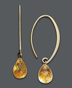 14k Gold Earrings, Citrine Brio Hoops (6-1/2 ct. t.w.) - Earrings - Jewelry & Watches - Macy's