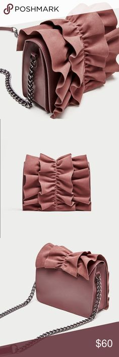 ZARA Frilled Leather Crossbody Bag Pink crossbody bag with gathered detailing on the front flap and shoulder strap made of a combination of materials, features chrome metal hardware and lined interior with pocket and magnetic clasp closure Zara Bags Crossbody Bags