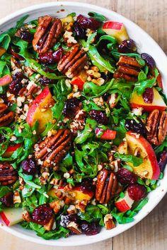 Arugula Salad Recipes, Best Salad Recipes, Whole Food Recipes, Vegetarian Recipes, Dinner Recipes, Cooking Recipes, Healthy Recipes, Cranberry Salad Recipes, Healthy Meals