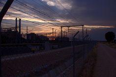 Train tracks and dirt road at dusk