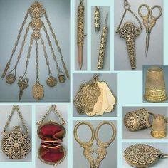 Antique Filigree Sewing Chatelaine w/7 Original Attachments; Circa 1890's