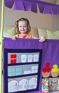 make a pvc puppet theater with a changeable scene - to get a grocery store! we need more space...