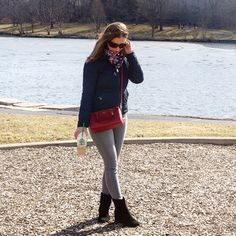 Spring outfit idea-Navy Blue, Red and Grey