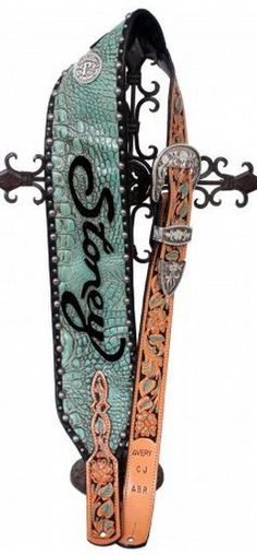 Personalized turquoise gator guitar strap with painted floral billets.