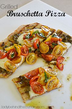Grilled Bruschetta Pizza-topped with a tomato salad -Lady Behind The Curtain