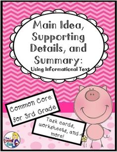 40 page set of worksheets, games, task cards and graphic organizers to help your 3rd graders master the concept of finding the main idea using informational text. $