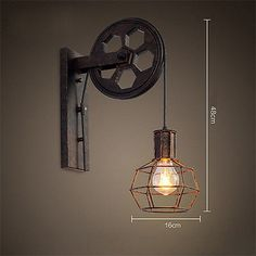 Loft Industrial Retro Wall Lamp Single Head Lifting Pulley Light Fixture 7262HC