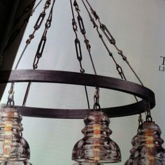Turnbuckles and glass insulators on Troy Lighting fixture.  Great industrial look!