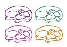 JACQUELINE DITT - Varicoloured Dogs A2 handsigniert limit.Orig.Grafik Hunde Tier