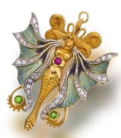 An art nouveau enamel, diamond and gem-set pendant brooch, circa 1905 designed as a winged water spirit with scrolling hair, the basse taille enamel wings accentuated by lines of old mine-cut diamonds, highlighted by one circular-cut ruby and two demantoid garnets; unsigned, no. L 0343; mounted in platinum-topped fourteen karat gold | JV by hester