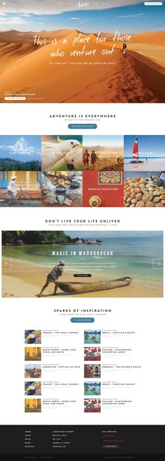Inspiring branding for a travel brand. Nice and organized. Inspiring branding for a travel brand. Design Sites, Homepage Design, Web Design Tips, Email Design, Flat Design, Website Layout, Web Layout, Layout Design, Travel Website Design