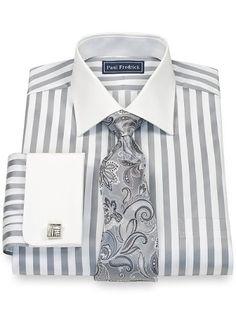 2-Ply Cotton Bold Satin Spread Collar French Cuff Dress Shirt from Paul Fredrick