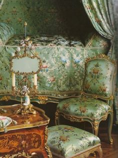 How Madame de Pompadour's bedroom at Versailles may have looked when she lived in them.