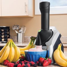 Yonanas 902 Frozen Treat Maker, Black/Silver Instantly turns frozen fruit and other flavorings into a delicious and healthy treat Looks and tastes like soft serve ice cream soft-serve ice cream without additional fat, sugar, or preservatives Fast and easy to clean; Chute, plunger and blade are all dishwasher safe Includes instructions and a list of recipes