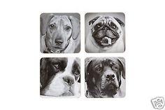 Pug Dachshund Boxer Rottweiler Dog Laminated Coasters Pk 4 KCDCDOGPK4 | eBay