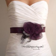 Wedding Sash Belt RACHEL - Dark Eggplant Purple Satin Bridal Sash with Feathers and Fringe. $68.00, via Etsy.
