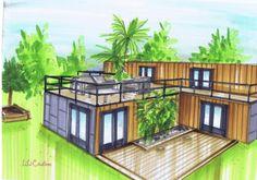 Cargotecture est un terme d'architecture englobant l'ensemble de la construction de projet d'habitat avec des containers. Maison container (56) Maison container avec un toit terrasse Cette maison est recouverte d'un bardage bois et de plaques d'ardoises....