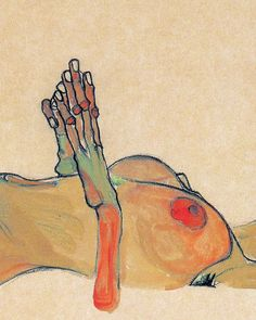 Egon Schiele, Totes Mädchen (detail), 1910 Orange knuckles and nipples. Green hands.