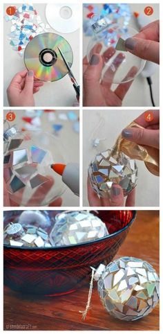 One of the best ways to decorate for the holidays is by putting up ornaments! Check out this pin to see so many different DIY holiday ornaments! This week at The Zone, guests used CD pieces to decorate their ornaments and they all looked great! Diy Christmas Ornaments, Homemade Christmas, Christmas Decorations To Make, Christmas Projects, Holiday Crafts, Christmas Holidays, Frozen Christmas, Hallmark Christmas, Ball Ornaments