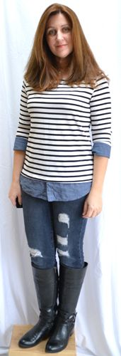 Market & Spruce Evella Boatneck Top $64 (Kept), Just Black Riley Distressed Skinny Jean $78 (Kept) - Stitch Fix 4 - September 2015