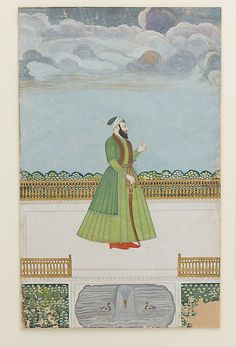 Nobleman on a Terrace Object Name: Illustrated single work Date: ca. 1780 Geography: India, Murshidabad Culture: Islamic Medium: Ink, opaque watercolor, silver, and gold on paper Dimensions: 34 x 21.3 cm Classification: Codices Credit Line: Purchase, Patti Cadby Birch and Stephenson Family Foundation Gifts, 2008 Accession Number: 2008.261