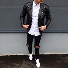 Classic Black and White is always a good way to dress up //  Find similar pins at @damee1 [https://www.pinterest.com/damee1/] // #leatheroutfit #leatherjacket #stylish  #menfashion #menstyle #guysinstyle #guyswithstyle #leather  #stylish menswear #menstyle #menfashion #casual #smart #classy #dapper #outfit #beTrendly #Fashion #Menswear #Leather #Biker #Hipster #Streetwear #Hype #Menswear #Outfit #Style #Luxury