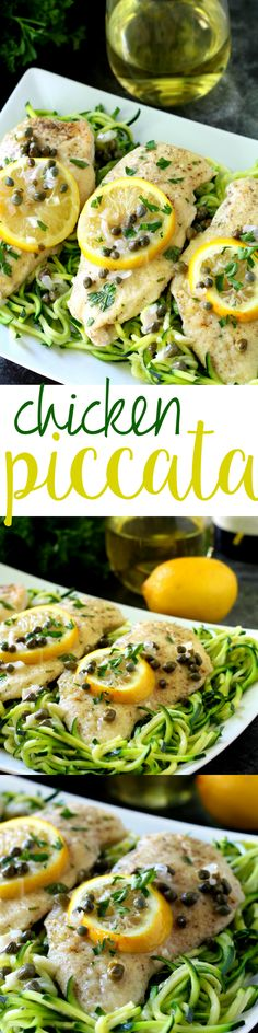 A lighter twist on the classic lemony chicken, this healthy chicken piccata recipe is full of zesty flavor and served over figure-friendly zucchini noodles. #AD