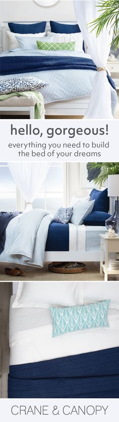 From chic bedding and beautiful statement duvet covers, find gorgeous bedding to build the bedroom of your dreams. Named the best site for bedding by HGTV. Beach House Bedroom, Blue Bedroom, Beach House Decor, Dream Bedroom, Girls Bedroom, Master Bedroom, Bedroom Ideas, Decoration Bedroom, Coastal Bedrooms
