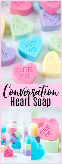 DIY Conversation Heart Soap – how to make mini conversation heart soaps for Valentine's Day.